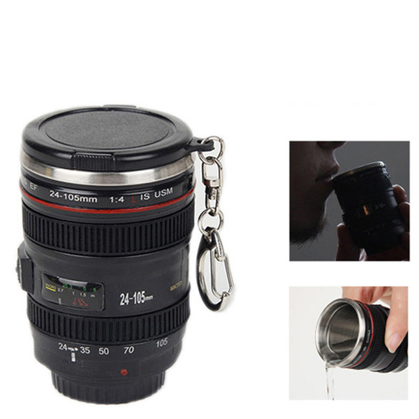 60ml Mini SLR Camera Lens Coffee mugs Cups With Lid Keychain 1:1 Scale water bottle Stainless Steel Vodka Wine glass tumblers insulation