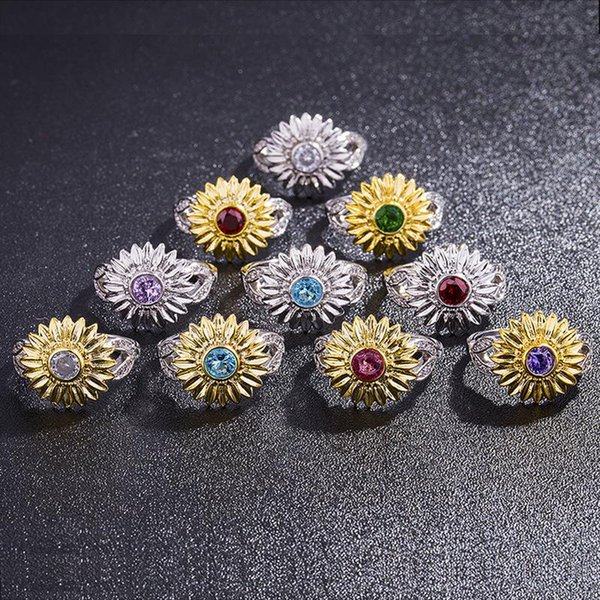 CZ Stone Ring Jewelry Bague Femme Gold Silver Color Cute Sunflower Crystal Wedding Rings For Women Valentine's Gift