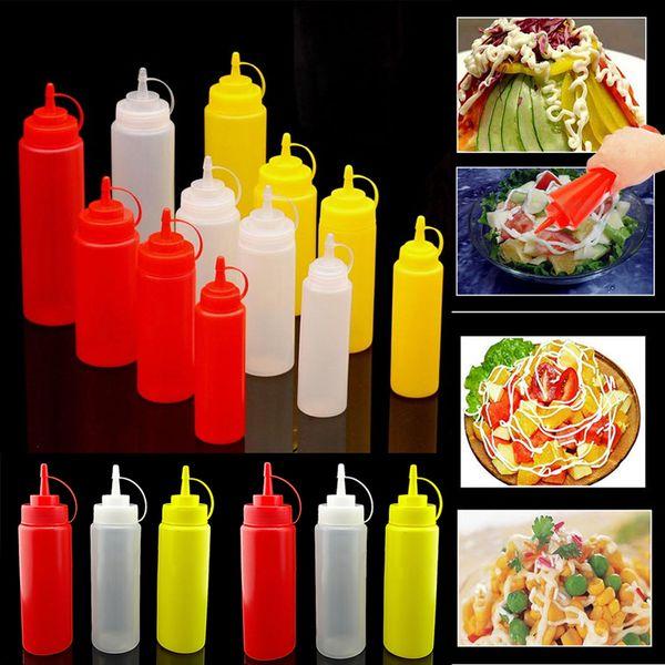 8,12,16,24 oz Nueva cocina de plástico Squeeze Bole condimento dispensador de salsa de aceite de vinagre Ketchup cocina accesorios herramientas ZM