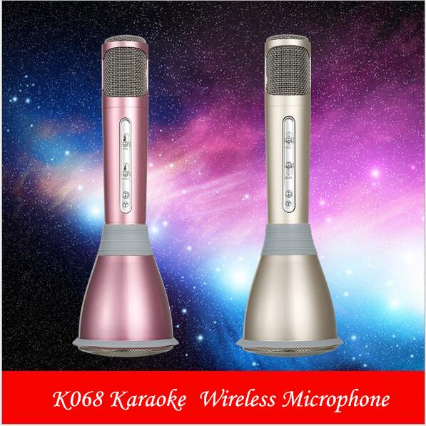 Karaoke K068 Wireless bluetooth Microphone with Mic Speaker Condenser Mini Karaoke Player KTV Singing Record for samsung Iphone DHL FREE