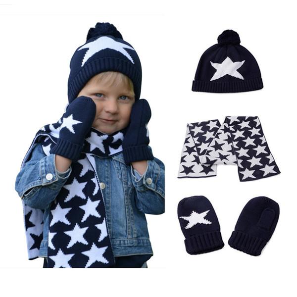 garçons filles tricotés bonnet écharpe et gant enfants automne hiver mode enfants bleu marine étoiles imprimer 3 pièces ensembles