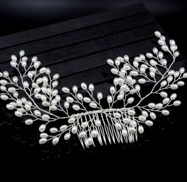 Bride handmade pearl combed white wedding dress accessories headwear