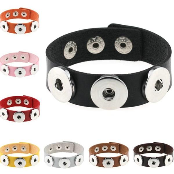 Bouton pression Bracelet pour 18mm Snaps Charm Bracelets BRICOLAGE bouton pression bijoux Bracelets en cuir pas cher pour les femmes hommes femmes bijoux