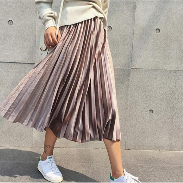 53d241e160 Nuevo 2018 otoño e invierno de talle alto flaco falda de terciopelo para  mujer faldas plisadas