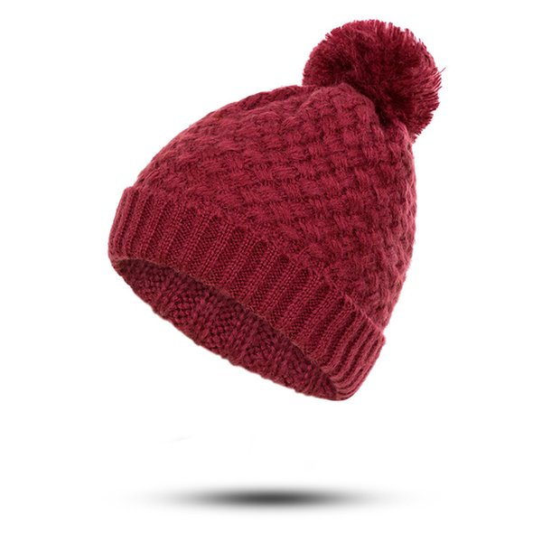 SIMPLESHOW Fashion Winter Warm Beanie Hat Women's Solid Color Skullies Beanies Pompom Hat Female Plus Velvet Dropshipping