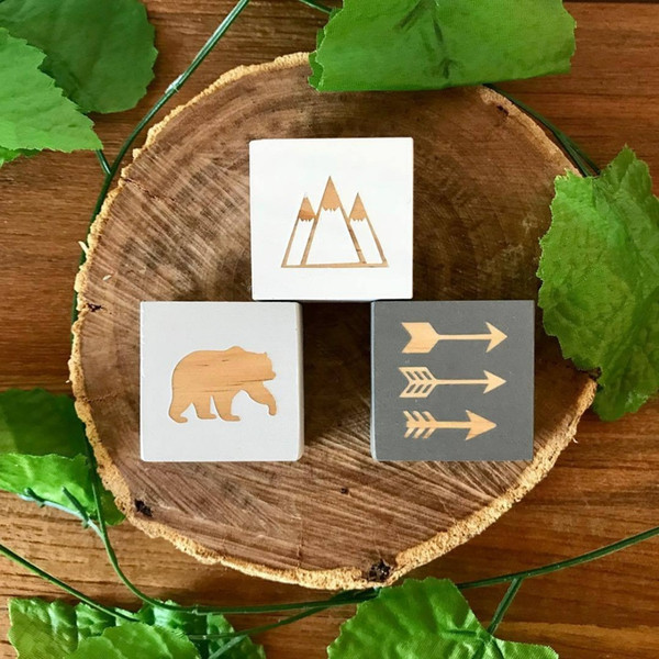 Bear Leaf Model Block DIY Wood Room Home Photography decoration INS Wall props Baby for Doll Toy Kids Birthday Christmas Gift