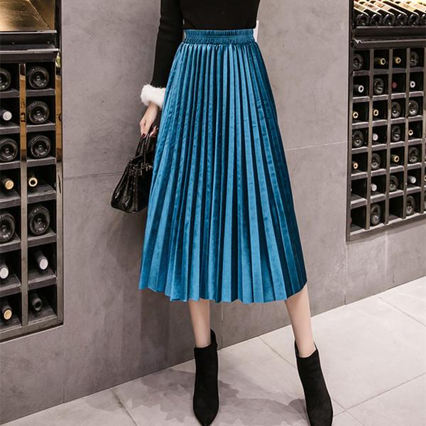 linmei0004 / 2018 otoño invierno falda de terciopelo de talle alto flaco gran swing largo plisado faldas metálicas 18 colores más tamaño 3XL Midi Saia C181108