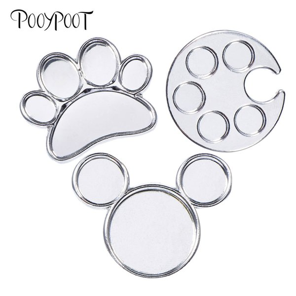 Pooypoot Nails Art Finger Ring Palette Dish Mini Metal Acrylic Nail Gel Varnish Painting Drawing Color Palette Manicure Tools