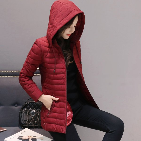 Winter Jacket Women Plus Size 5XL Womens Ultra Light Parkas Outerwear solid hooded Coats Female Slim Cotton Cotton Padded Jacket