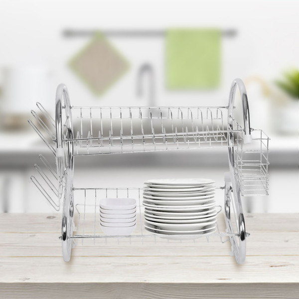 2019 2 Tiers Dish Drying Rack Home Washing Holder Basket Plated Iron Great Kitchen Sink Dish Drainer Drying Rack Organizer From Kenna456 Price