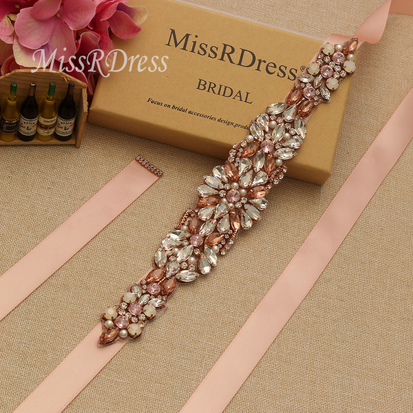 MissRDress Luxury Wedding Sashes Belt With Opals Rose Gold Crystal Pearls Rhinestones Belt And For Sashes Bridal Dresses YS938