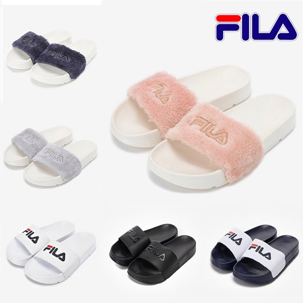 Fur Brand FILA disruptor2 sandal Slippers men women Winter Sandals black white Anti-slipping Outdoor Soft warm Shoes Beach Sandals 36-44