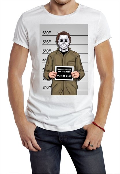 Jason T gömlek polis sıradan şüpheli korku Jason maske Cadılar Bayramı Erkekler Tee Gömlek Tops Kısa Kollu Pamuk Spor T-Shirt