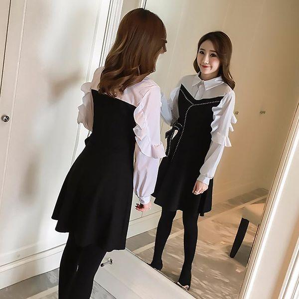 Женщины кружева платье 2018 новый весенний праздник две рубашки воротник лук маятник рукав головы высокой талией платье цвет
