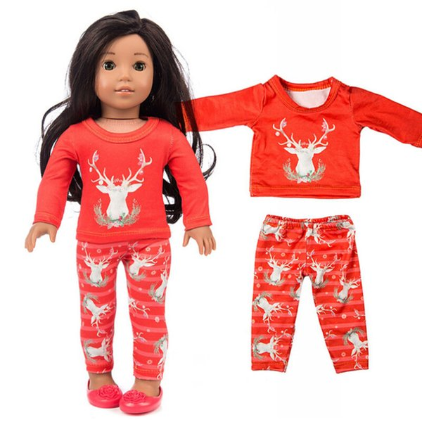 Hot Sell Accessories Beautiful Chirstmas Clothes Fashion Pants Shirt for 18 Inch American Girl Doll Toy gifts for girls boneca