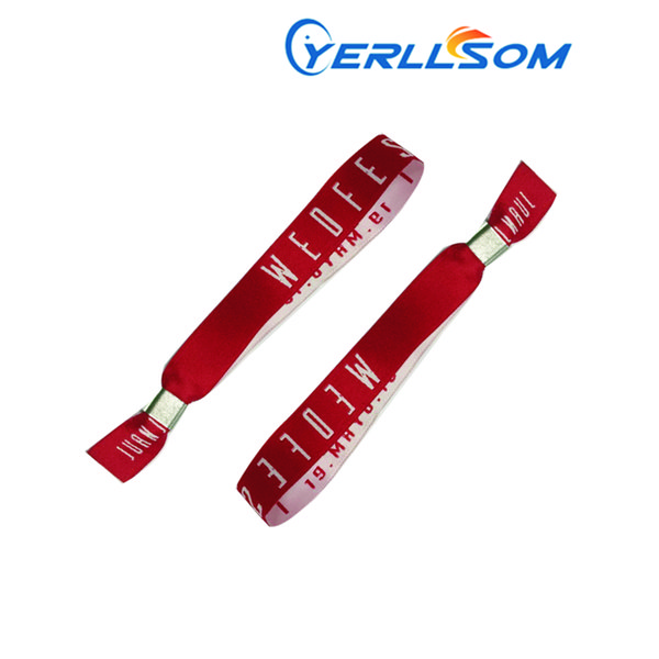 YERLLSOM 100PCS/Lot High Quality Customized Cloth Wristbands With Woven Logo For Events F050416