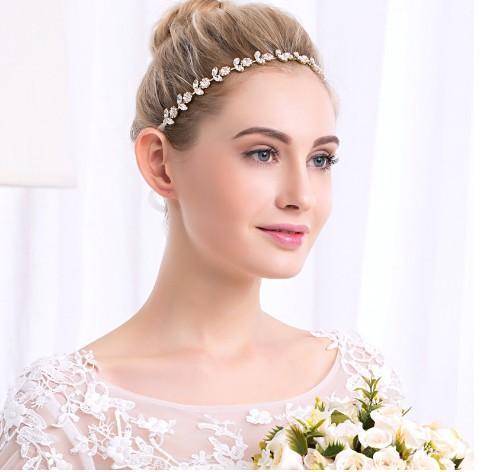 Sunflower Wedding Head Piece- Gold Tone CZ Stone Bridal Head Bands Ribbon Hair Vine Wedding Hair Accessories