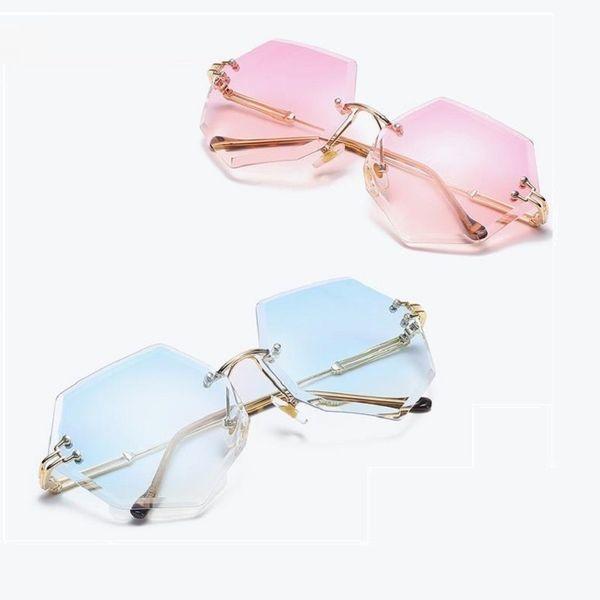 Women Sunglasses Brand Designer sandbeach drive Retro Rimless Glasses HD Lens Eyewear Ladies New Fashion UV400 Sun Glasses 6519