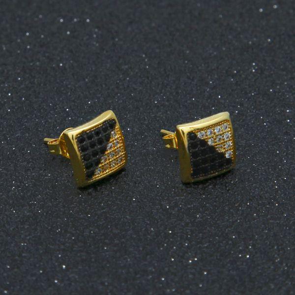 Twill two-color Earring Gold 18k Plated Black & white with Zirconia Men Earrings Punk Square Earrings Stud Men's Hip Hop Jewelry Pendants