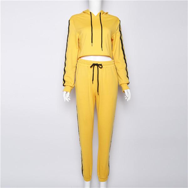 Mulheres com capuz manga comprida Agasalho Feminino Amarelo Listrado Two Piece Set Ternos Outono Inverno Hoodie Tops e Calças Cortadas