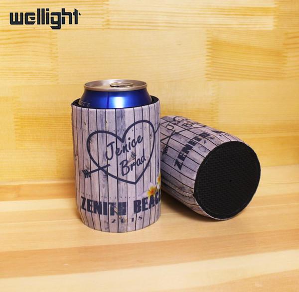200 unids Custom Neoprene Beer Can Cooler Picnic Bag Con Inferior Stubby Holder Wedding con impresión de LOGOTIPO Botella de Cerveza cubierta fresca