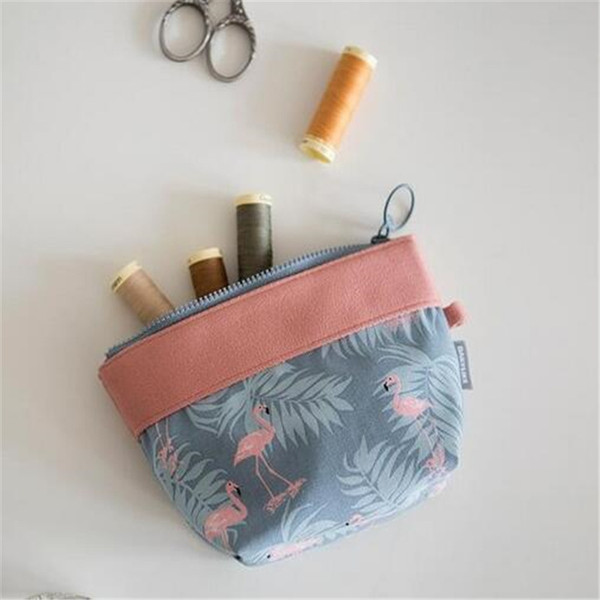 RU&BR Korean New Fashion Flamingo Women's Cosmetic Bag Travel Multi-functional Debris Storage Bag Sewing Kit Portable Pouch