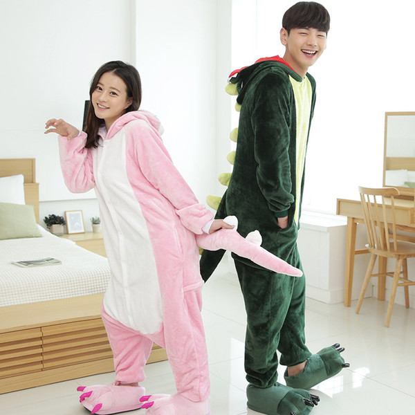 Green Pink Dinosaur Animal Pajamas Unisex Adult Pajamas Flannel Pajamas Winter Garment Cartoon Animal Onesies Pyjamas Jumpsuits