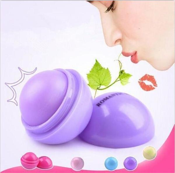 1000pcs Cute Round Ball Lip Balm 3D Lipbalm Fruit Flavor Lip Smacker Natural Moisturizing Lips Care Balm Lipstick X085