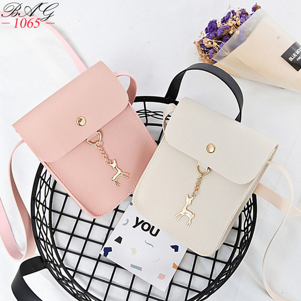 New Hot Women's Handbags PU Leather Fashion Small Shell Bag With Deer Toy Women Shoulder Bag Casual Crossbody Bag