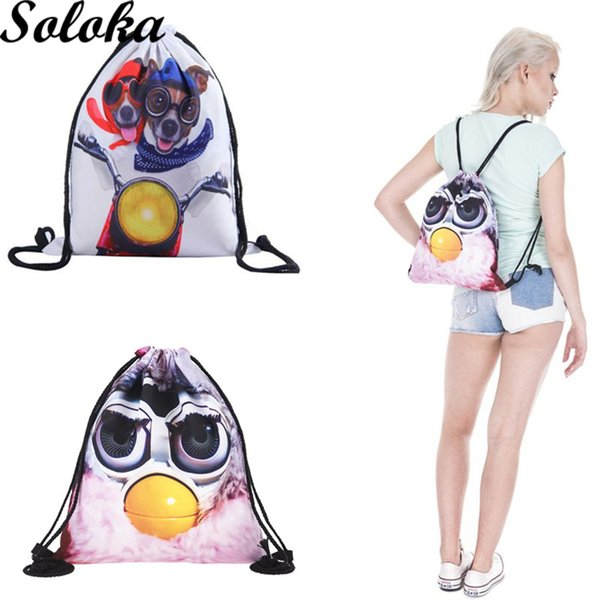 1Pc Fashion animal cute Pattern Travel Sport Portable Drawstring softback Bag School Beautiful Cosmetic Bag