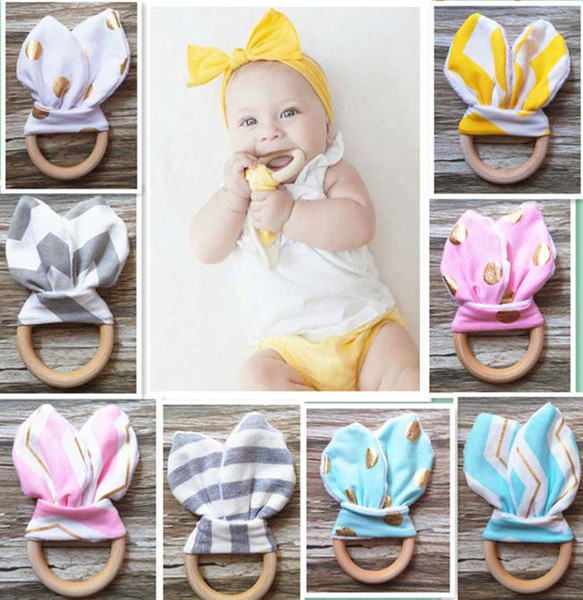 top popular 31 colors Infant baby Teethers Teething ring teeth Fabric and Wooden Teething training Crinkle Material Inside Sensory Toy Soothers C1745 2020