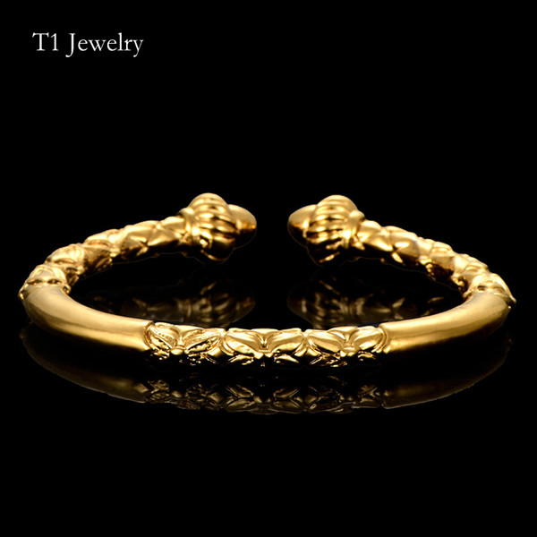 Wholesale Flower Head Bangle Cuff Bracelet Copper Bracelet Gold Color Dubai Dragon Pattern Bracelet Women