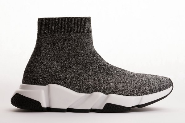 Hot Designer Speed Trainer Runner Boots Socks Stretch-Knit High Top Trainer Shoes Cheap Sneaker Black White Woman Man Couples Casual Shoes