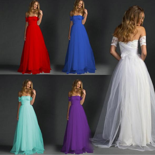 Woman White Classy Strapless Wedding Sheer Mesh Lace Panelled Ball Gown Prom Cocktail Party Evening Long Maxi Dress Clubwear Dresses