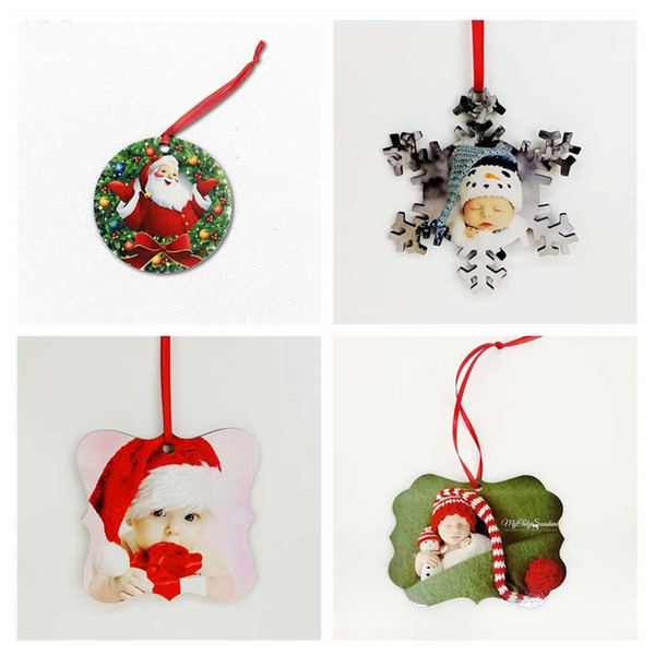 best selling sublimation mdf round square snow christmas ornaments decorations hot transfer printing diy blank consumable xmas gifts new styles