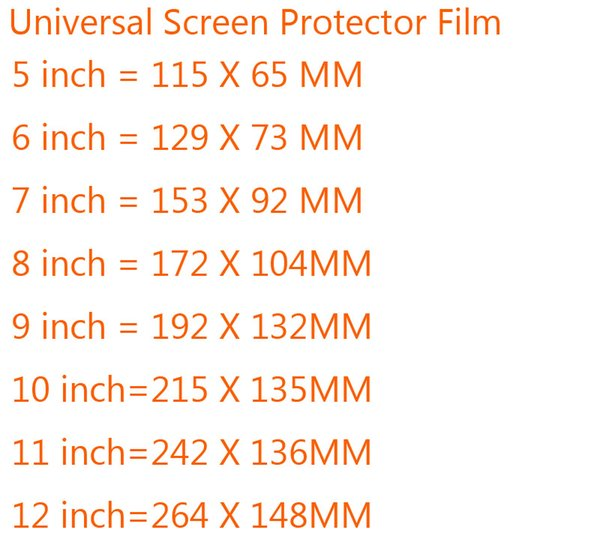 5pcs Universal 5/6/7/8/9/10/11/12 Inch Protective Film Clear/Matte Screen Protectors for Mobile Phone Tablet GPS MP4 General LCD