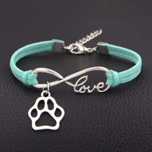 Infinity Love Dog Claw Paw bracelets summer Light green Leather charm bangles for women Men Christmas gift wrap Jewelry wholesale drop ship
