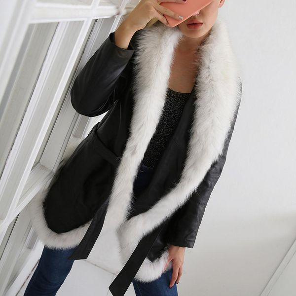 Großhandel Frauen Modisch Pelz Lederjacke Mantel Herbst Und Winte Luxurious Warm Schwarz Weiß Pelz Leder Warm Mantel Jacke Von Xiatian6, $40.65 Auf