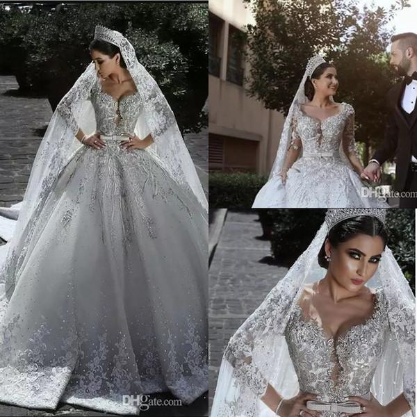2018 New lusso in rilievo arabo Ball Gown abiti da sposa glamour mezze maniche tulle appliques in rilievo paillettes vestitino abiti da sposa