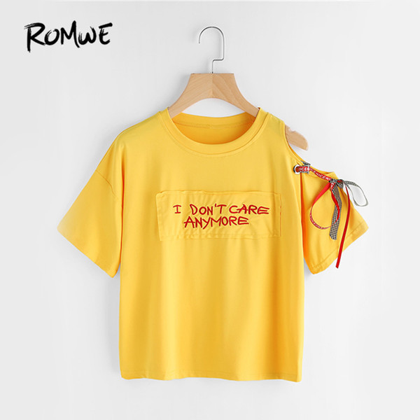 ROMWE Yellow Ribbon T-shirt Asymmetric Open Shoulder Tee 2018 Women Embroidery Summer Tops Fashion Short Sleeve New Cute T-shirt