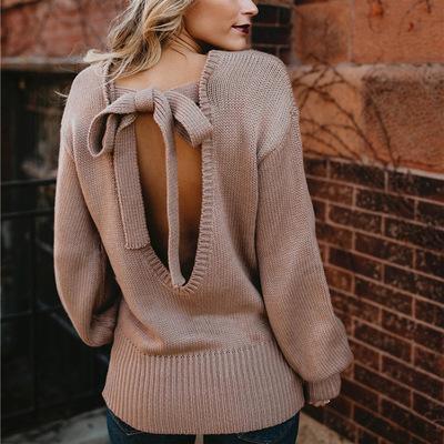 Frauen Pullover und Pullover Oansatz zurück lace up Bogen pulover feminino 2018 Herbst Winter Pullover Frauen Pullover Pull femme hiver
