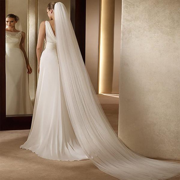 Plain One Layer / Two Layers 3 Merters Long Soft Tulle Veli da sposa con pettini lunghi Veli da sposa Accessori