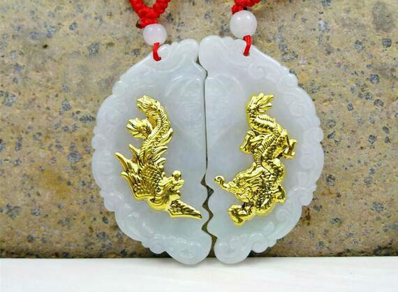 Descuento Hot Sales Dragon nuevo diseño collar colgantes de alta calidad Jade 2 piezas