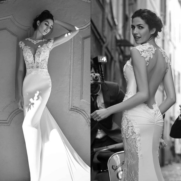2018 New Designer High Neck Mermaid Wedding Dresses Sheer Applique Crystal Beads Backless Plus Size Beach Wedding Gowns