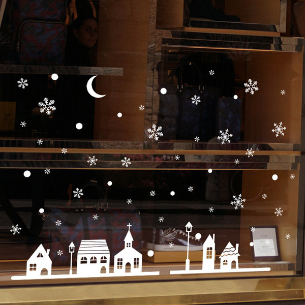1PC Christmas Decorative Decal Window Stickers Removable Xmas Glass Wall Stickers Merry Christmas Snowflake Sticker Home Decor