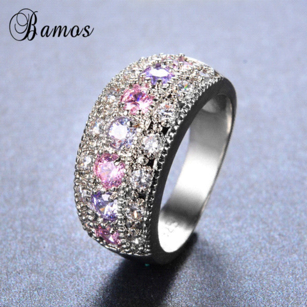 Bamos Women Pink Purple Ring Bohemian 925 Sterling Silver Filled Jewelry Romantic Engagement Rings Promise Rings For Couple