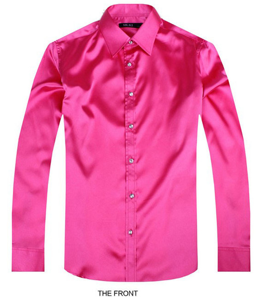 2017 Rose Luxury the groom shirt male long sleeve wedding shirt men's party Artificial silk dress M-3XL 21 colors FZS26