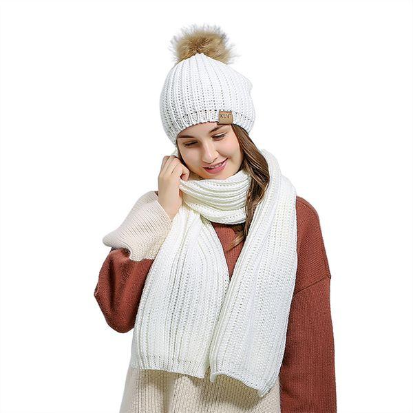 Acheter 2 Pièces Bonnet Et écharpe Femme Hiver Longue écharpe En Fourrure Bonnet Hiver Cachemire Laine à Tricoter Bonnet De Laine Chaude Loisirs