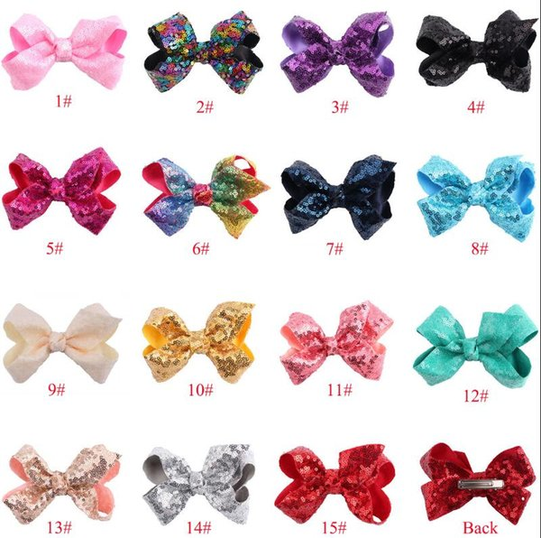 16 Style 6 inch Rainbow Sequin Hair Bow Bling bows Hair Clip Baby Girl Rainbow Bestie Jojo Bows