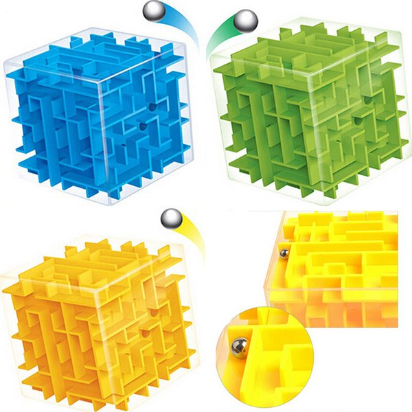 8*8cm 3D Magic Cube Maze Labyrinth Rolling Ball Educational Toys Puzzle Plastic Stress Relief Toy Color Random